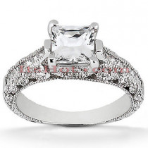 18K Gold Diamond Engagement Ring Setting 0.64ct