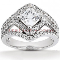 Halo 18K Gold Diamond Engagement Ring Setting 0.73ct