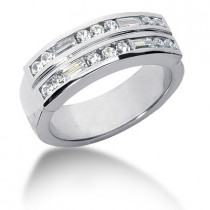 18K Gold Diamond Men's Wedding Ring 0.90ct