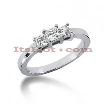 Thin 18K Gold Diamond Three Stones Engagement Ring 0.45ct