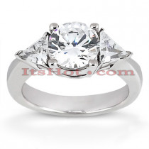 Thin 18K Gold Diamond Three Stones Engagement Ring 0.80ct