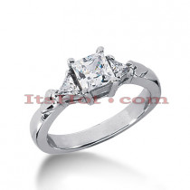 Thin 18K Gold Diamond Three Stones Engagement Ring 0.83ct