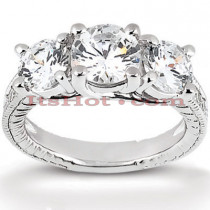 Thin 18K Gold Diamond Three Stones Engagement Ring 0.95ct