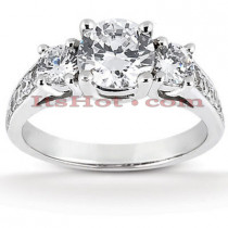 Thin 18K Gold Diamond Three Stones Engagement Ring 1.05ct