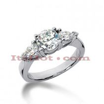 Thin 18K Gold Diamond Three Stones Engagement Ring 1.60ct