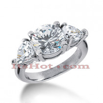 Thin 18K Gold Diamond Three Stones Engagement Ring 4.50ct