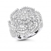 18k Gold Flower Diamond Engagement Ring LUCCELLO 3.25ct Statement Jewelry