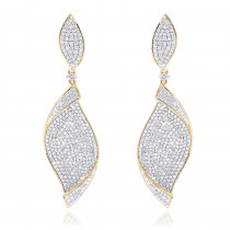 18K Gold Ladies Designer Diamond Leaf Earrings 3 carats