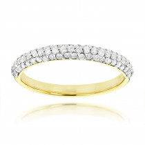 Thin 18k Gold Ladies Diamond Band Pave Diamonds 0.6ct