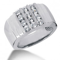 18K Gold Mens Diamond Ring 1.20ct