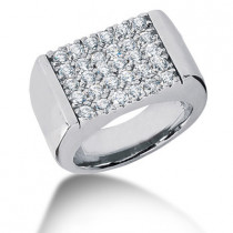 18K Gold Men's Diamond Ring 1.50ct