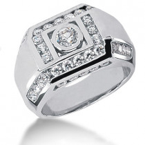 18K Gold Men's Diamond Ring 1.98ct