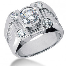 18K Gold Men's Diamond Ring 2.80ct