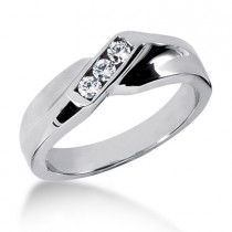 18K Gold Men's Diamond Wedding Ring 0.21ct