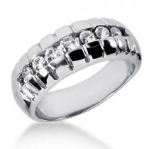 18K Gold Men's Diamond Wedding Ring 0.53ct