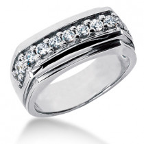 18K Gold Men's Diamond Wedding Ring 0.66ct