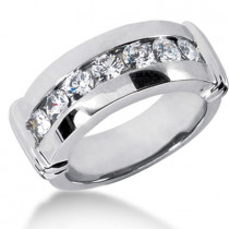 18K Gold Men's Diamond Wedding Ring 1.05ct