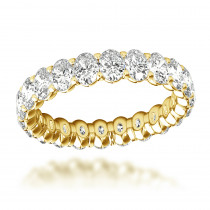 18K Gold Oval Cut Diamond Anniversary Ring Eternity Band for Women 3ct