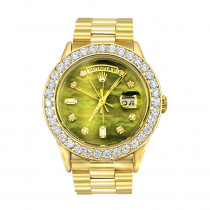 18K Gold Rolex Oyster Perpetual Diamond Watch for Men 3.65ct Green MOP DIal