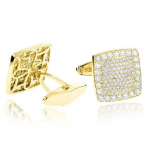 18K Gold & Round Diamond Designer Cufflinks Mens 3.77ct