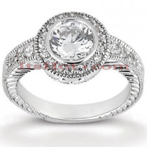 18K Gold Round Diamond Engagement Ring 1.05ct