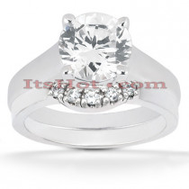 18K Gold Round Diamond Engagement Ring Set 0.81ct