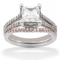 18K Gold Round Diamond Engagement Ring Set 1.16ct