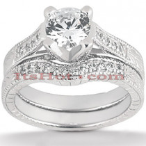18K Gold Round Diamond Engagement Ring Set 1.25ct