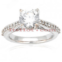 18K Gold Round Diamond Engagement Ring Set 1.40ct