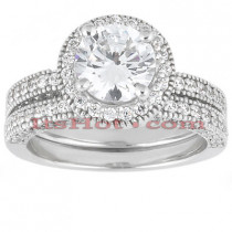 18K Gold Round Diamond Engagement Ring Set 1.70ct