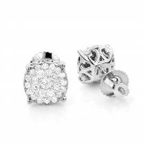 18K Gold Round Diamond Pave Stud Earrings 0.56ct Clusters 2ct Look