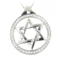 18K Gold Round Diamond Star of David Pendant 0.75ct