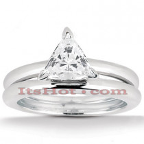 18K Gold Trillion Diamond Engagement Ring Set 0.75ct