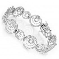 18K Gold Womens Multi Circle Diamond Bracelet 3.54ct