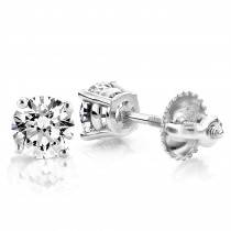 18k White Gold 4 Prong Round Diamond Stud Earrings 2ct