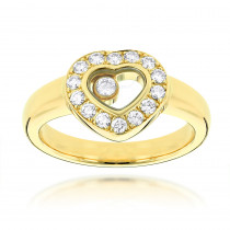 18K Yellow Gold Chopard Floating Happy Diamonds Heart Ring for Women 0.29ct