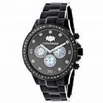 2 Carat Black Diamond Bezel Watch for Men by Luxurman