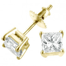 2 Carat Princess Diamond Stud Earrings 14K Yellow Gold