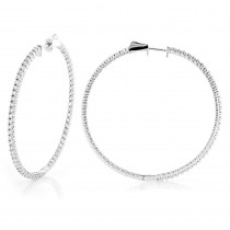 2 Inch Diamond Hoop Earrings 1ct 14K Gold Inside Out Hoops