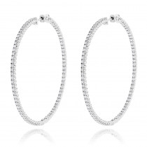2 Inch Diamond Hoop Earrings 4ct 14K Gold Inside Out Design