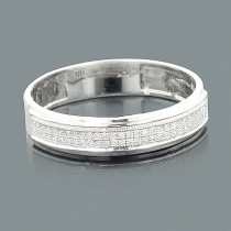 Thin 2 Row Diamond Wedding Band 10K 0.16ct
