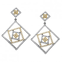 2 Tone 18K Gold Diamond Designer Earrings 3.05ct