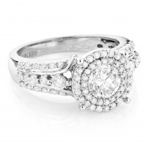 Double Halo Diamond Engagement Ring 1.75ct 14K Gold