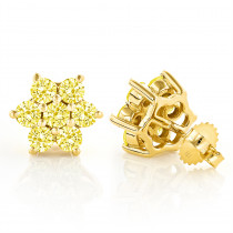 3 Carat Yellow Diamond Stud Earrings 14K Gold
