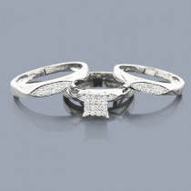 3 Piece Diamond Engagement Ring Set 0.32ct 14K