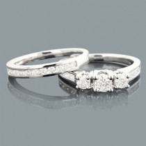 3 Stone Diamond Engagement Ring Set 1.04ct 14K Gold
