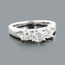 3 Stone Rings: Designer Diamond Engagement Ring 1.78ct 18K Gold