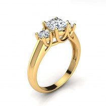 3 Stone Rings: Past Present Future Diamond Engagement Ring 1.1ct 18K Gold