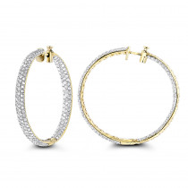 5 Carat Diamond Hoop Earrings: 14K Gold Inside Out Style