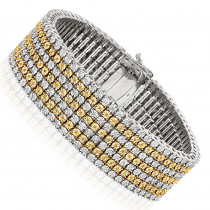 7 Row White and Yellow Diamond Bracelet for Men 1.5ct Sterling Silver